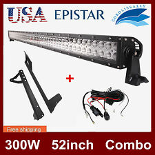 52'' 300W Spot Flood LED Light Bar+Mount Bracket For Jeep JK Wrangler+Wiring Kit