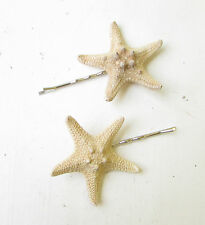 2 x Natural Real Starfish Hair Grips Mermaid Star Fish Clips Bobby Pins Sea 1789