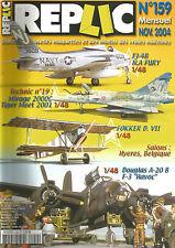 REPLIC N°159 FJ-4B N.A FURY / MIRAGE 2000 C / TIGER MEET 2001 / FOKKER D. VII