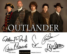 Outlander S2 Sam Heughan Caitriona Balfe Cast Signed Photo Autograph Reprint