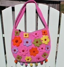 RISING TIDE pink canvas w/ appliqued Felted Wool Flowers Pom Poms HANDBAG NWT