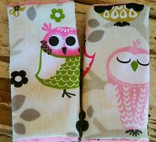 infant/toddler seat strap covers in sit n a tree owl and baby pink minky