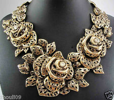 New Design Lady Bib Statement skull crystal multi chunky chain necklace 790
