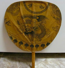 VINTAGE CHINESE DRAGON PAPER ASIAN HAND HELD PADDLE FAN