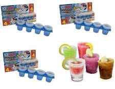 12 x ICE SHOT GLASS MOULDS (3x4) FROZEN Colour GLASSES FOR DRINKING PARTY GAMES