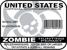 Zombie Hunting Permit United States decal sticker outbreak response team WHITE
