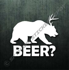 Beer? Funny Self Adhesive Bumper Sticker Vinyl Decal Bear Car Macbook Sticker
