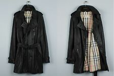 RRP2450$ MENS BURBERRY BRIT PRORSUM LAMBSKIN LEATHER TRENCH COAT NOVA CHECK (XL)
