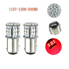 2x 1157 BAY15D 50 SMD 1206 Led Red Car Brake Stop Turn Bright Light Lamp Bulb