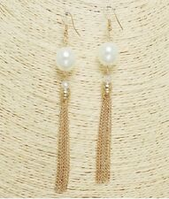 Large Gold and Cream Pearl Beaded Tassel FASHION Earrings
