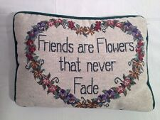 Accent Pillow 'Friends are Flowers that never Fade' Green Back with Flowers(A27)