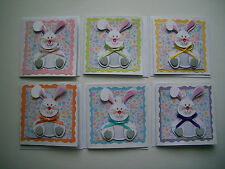 """6 ADORABLE Handmade Easter Bunny Theme 3"""" x 3"""" Blank Gift Cards/Tags w Envelopes"""
