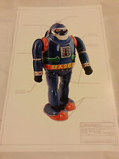 "PRINT #2 Robot Japan Ultraman tin toy space 17""x11"" ray gun Tetsujin Nomura MINT"