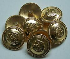 8pc 15mm American Inspired Bright Gold Colour Metal military Button  2247