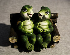 """Cute Figurine of two turtles sitting on a bench 5"""" by 4"""""""