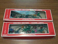 Vintage Christmas Lights Flower Reflectors Retro Lights Multi Color Lot of 2