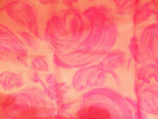 Nice Vintage Silk FABRIC REMNANT Hand-Painted Roses Print, Pink, To Make A Scarf