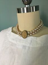 EXTASIA Pearl and Cameo Choker Necklace