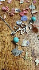 SIilver tone Bird Branch Leaf Turquoise Pendant necklace Chain Jewellery present