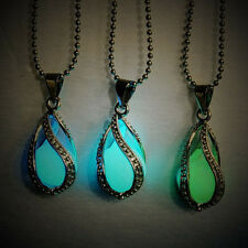 New Luminous Pearl Little Mermaid's Teardrop Glow in Dark Screw Pendant Necklace