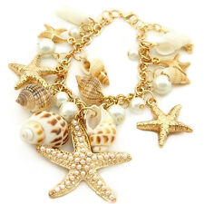 Ocean Style Starfish Sea Star Conch Shell Faux Pearl Chain Beach Bracelet Steady