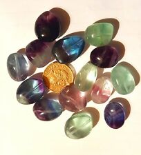 2 large Rainbow Fluorite 20-25mm Gemstone Tumble stones Healing Chakra Drilled