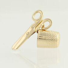 Thimble & Scissors Charm - 14k Yellow Gold Sewing Moves Three-Dimensional