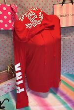Victoria's Secret PINK LARGE Super Soft Hoodie Red w/White PINK Graph SOLD OUT