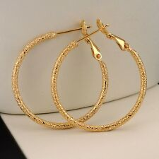 18k Yellow Gold Filled Carved Earrings 2mm Women ring Hoop 30MM GF Jewelry