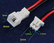 Micro JST PH 1.25mm GH 2-pin Maschio & Femmina Connettori con fili UK STOCK freeP & P