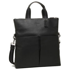 NWT COACH MEN'S CHARLES FOLDOVER TOTE BAG IN SMOOTH LEATHER F54759 BLACK