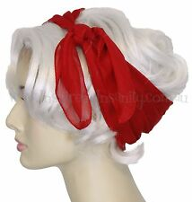 Pinup 50s CHERRY RED Chiffon Square Head Scarf ~ RockAbiLLy PsyChoBiLLy ViNtagE