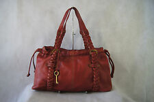 Fossil Red Leather Drawstring Hobo Shoulder Bag w/ Braided Straps