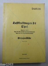 original  Anleitung  Ersatzliste für OPEL Lastkraftwagen 3 t  von  1941