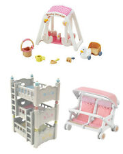 Sylvanian Families - Triple Bunk Bed, Baby Swing & Double Baby Carriage - 3 Sets