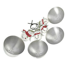 Ganz Holiday Color Snow Angel Christmas Measuring Cups Set 4 Stainless Steel NEW