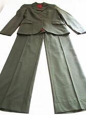 HUGO BOSS GORGEOUS LADIES GREEN SMART TROUSERS & JACKET UK 10 - 12 VIRGIN WOOL