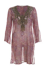 Stunning by Eric Way pink and purple cover up w/ bronze beading - Size Italy 40