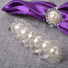 12X White Pearl Napkin Ring Serviette Holder Wedding Banquet Dinner Decor Favor