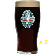 Pair of Smithwick Label Imperial Pint (20oz) Tulip Glasses, High Quality NEW!!