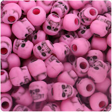 150 Dark Hot Pink Antique 11mm Halloween Skull Pony Beads Made in the USA