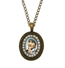 Blessed Mother Teresa Necklace Catholic Pendant Bronze Medal Patron Jewelry