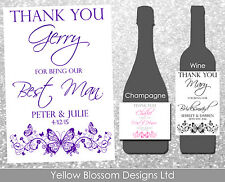 Personalised Wine Champagne Bottle Label Wedding Thank You Usher Bridesmaid Dad