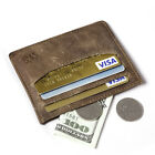 Men Crazy Horse Real Leather Slim Credit Card Case Thin Minimalist Coin Wallet