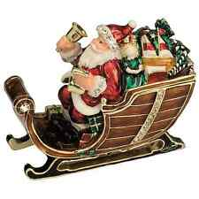 Craycombe Trinkets Christmas Santa with Sleigh Bells Pewter Trinket Box 7cm 6037