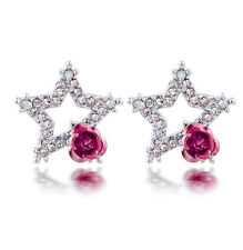 Luxury Silver Shiny Silver Star with Pink Rose Stud Earrings E973