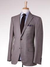 NWT $3295 BELVEST Oatmeal Beige Chalkstripe Flannel Wool Suit 40 R Slim-Fit