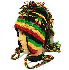 New Rasta color Mohawk Hat cap beanie Pilot handmade 100% Wool w Fleece lining
