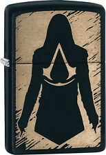 Zippo Assassins Creed Chronicles Franchise Logo Silhouette Cloak Blk Matte 29488