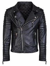 MENS GENUINE LEATHER JACKET SLIM FIT REAL BIKER NEW XS-3XL VINTAGE